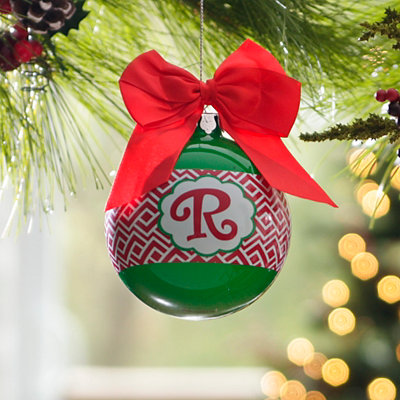 Red & Green Monogram R Ornament