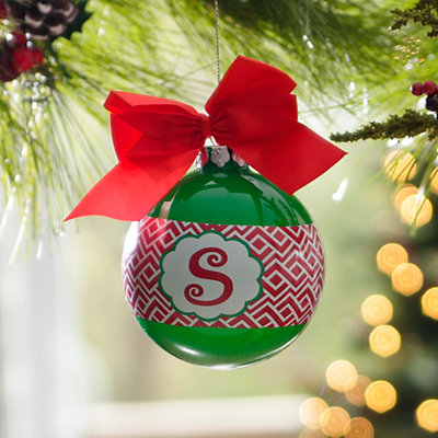 Red & Green Monogram S Ornament