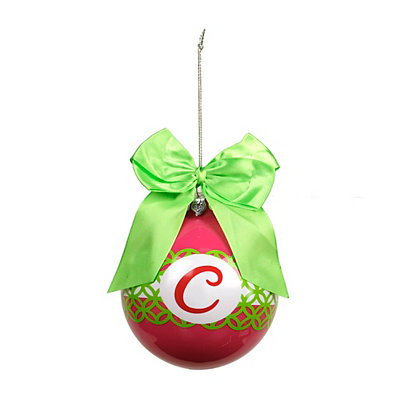Pink & Green Monogram C Ornament