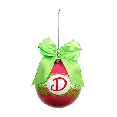 Pink & Green Monogram D Ornament