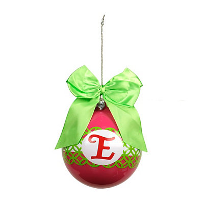 Pink & Green Monogram E Ornament