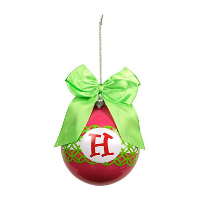 Pink & Green Monogram H Ornament