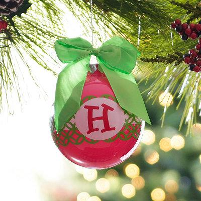Pink & Green Monogram H Ornament