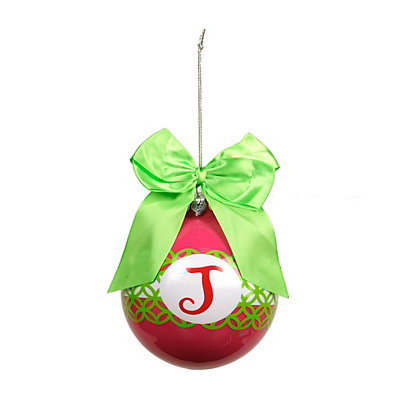 Pink & Green Monogram J Ornament