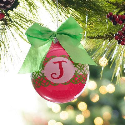 Pink & Green Monogram J Ornament