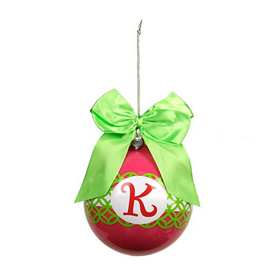 Pink & Green Monogram K Ornament