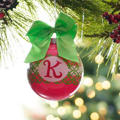 Pink & Green Monogram K Ornament