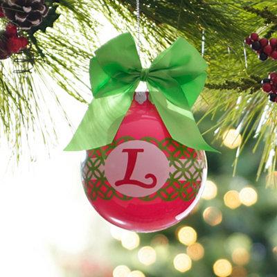 Pink & Green Monogram L Ornament