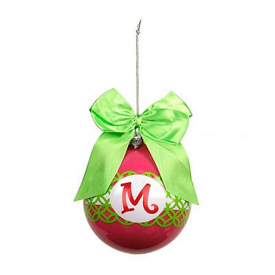 Pink & Green Monogram M Ornament