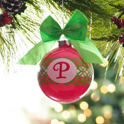 Pink & Green Monogram P Ornament