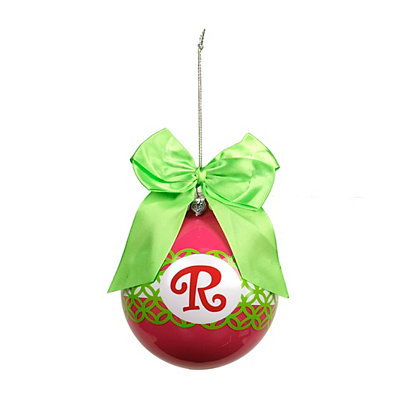 Pink & Green Monogram R Ornament