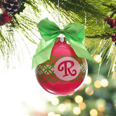 Pink & Green Monogram R Ornament