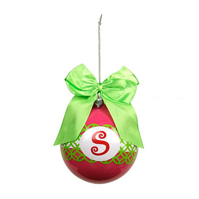 Pink & Green Monogram S Ornament