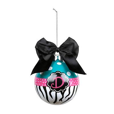Turquoise Zebra Monogram D Ornament