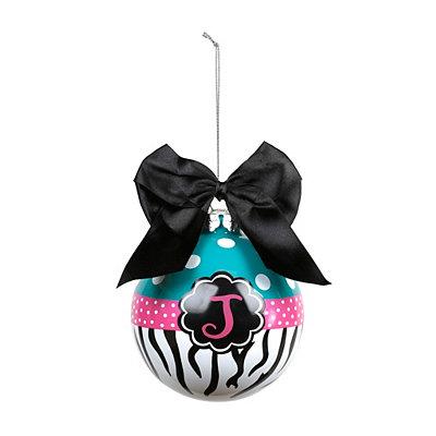 Turquoise Zebra Monogram J Ornament