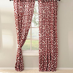 Red Darby Curtain Panel Set, 84 in.