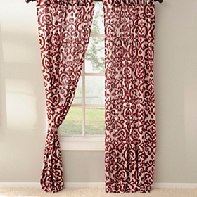 Red Darby Curtain Panel Set, 96 in.