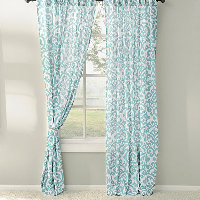 Aqua Darby Curtain Panel Set, 96 in.