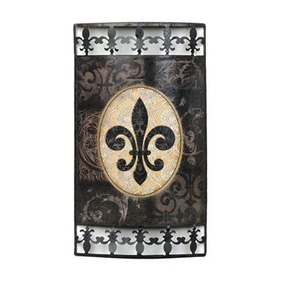 Black & Gold Fleur-de-Lis Metal Plaque