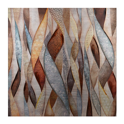 Blue & Brown Ribbons of Color Canvas Art Print