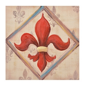 Red Fleur-de-Lis Canvas Art Print