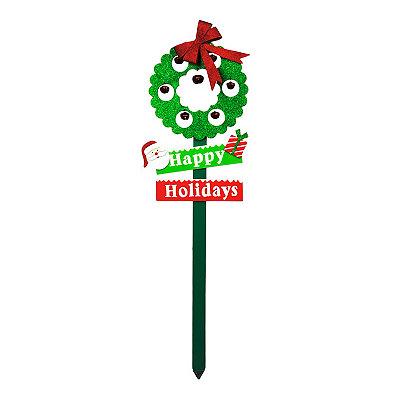 Wooden Wreath Jingle Bell Stake