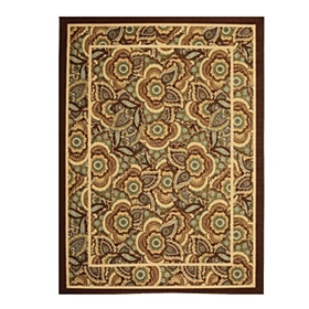 Jackson Blue and Brown Floral Area Rug, 7x9