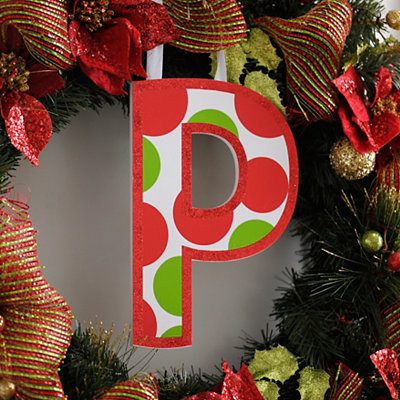 Red & Green Polka Dot Monogram A Wooden Letter