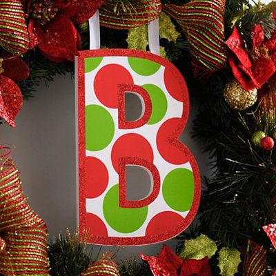 Red & Green Polka Dot Monogram B Wooden Letter