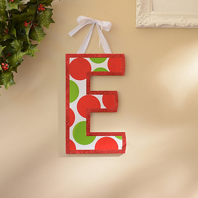 Red & Green Polka Dot Monogram E Wooden Letter