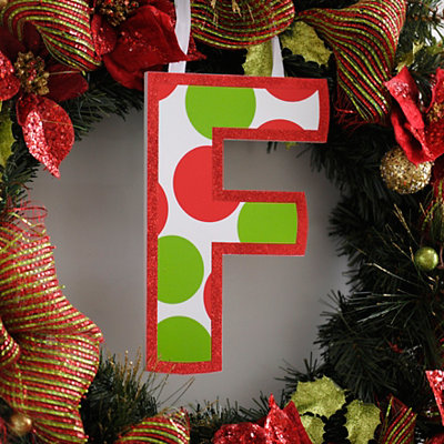 Red & Green Polka Dot Monogram F Wooden Letter