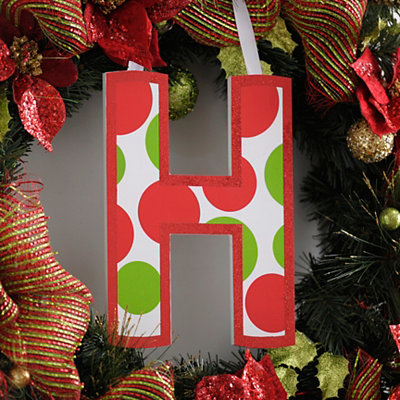 Red & Green Polka Dot Monogram H Wooden Letter