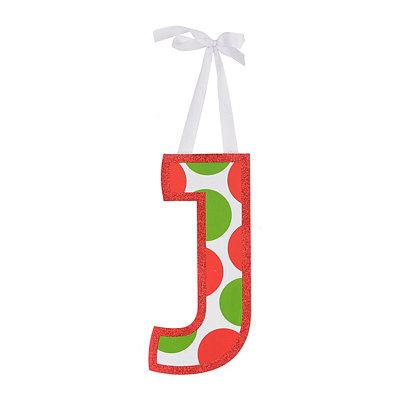 Red & Green Polka Dot Monogram J Wooden Letter