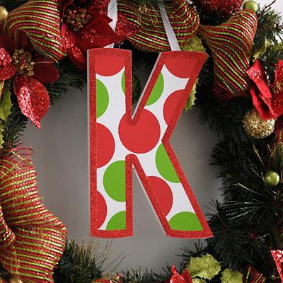 Red & Green Polka Dot Monogram K Wooden Letter