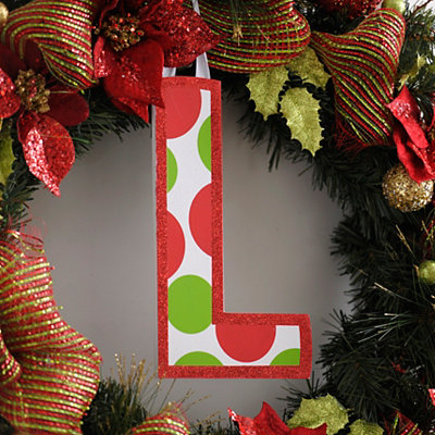 Red & Green Polka Dot Monogram L Wooden Letter