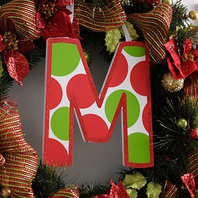 Red & Green Polka Dot Monogram M Wooden Letter