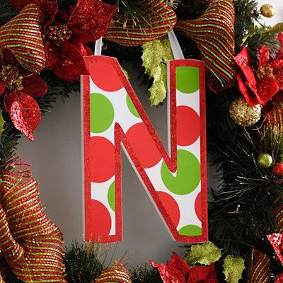 Red & Green Polka Dot Monogram N Wooden Letter