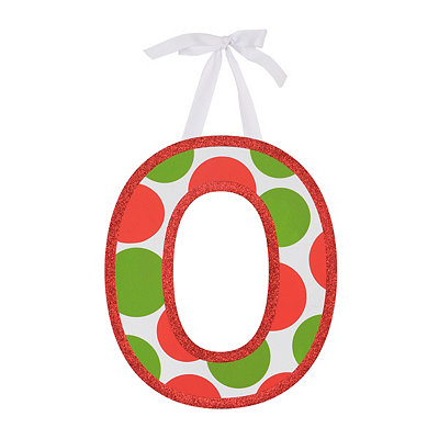 Red & Green Polka Dot Monogram O Wooden Letter