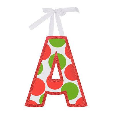 Red & Green Polka Dot Monogram P Wooden Letter
