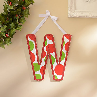 Red & Green Polka Dot Monogram W Wooden Letter