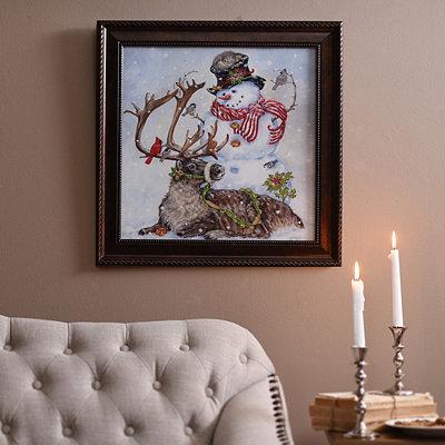 Snowman & Reindeer Framed Art Print