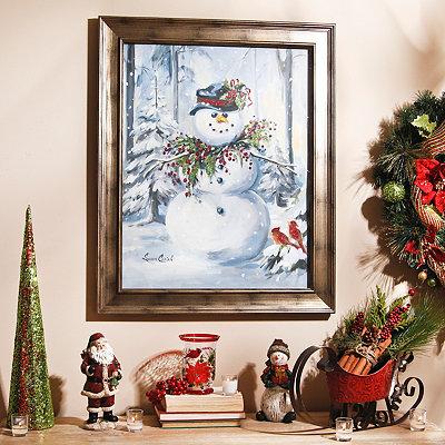 Berry Christmas Snowman Framed Art Print