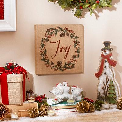 Joy Wreath Burlap Plaque