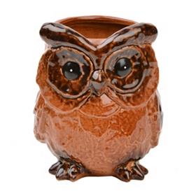 Amber Ceramic Owl Planter