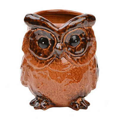Amber Ceramic Owl Planter