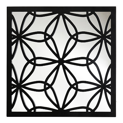 Black Flower Mirrored Plaque
