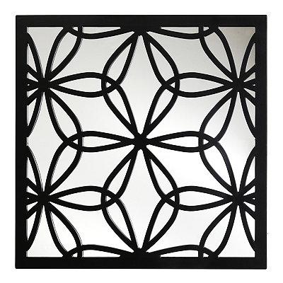 Black Flower Mirrored Plaque