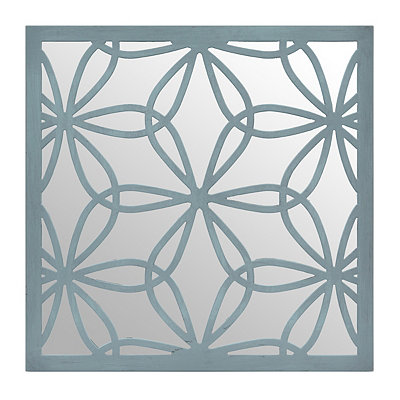 Distressed Blue Flower Mirrored Plaque