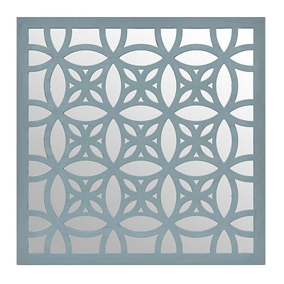Distressed Blue Lattice Mirrored Plaque