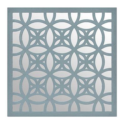 Distressed Blue Lattice Mirrored Plaque